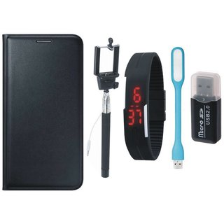Moto E3 Leather Flip Cover with Kick Stand with Memory Card Reader, Selfie Stick, Digtal Watch and USB LED Light