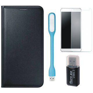 Moto E3 Leather Flip Cover with Kick Stand with Memory Card Reader, Tempered Glas and USB LED Light