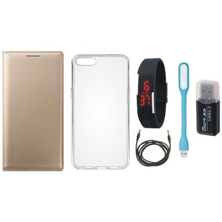 Moto E3 Stylish Cover with Memory Card Reader, Silicon Back Cover, Digital Watch, USB LED Light and AUX Cable