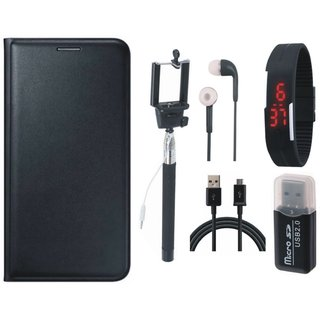 Moto E3 Leather Flip Cover with Kick Stand with Memory Card Reader, Selfie Stick, Digtal Watch, Earphones and USB Cable