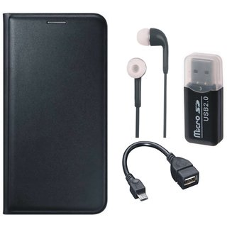 Moto E3 Leather Flip Cover with Kick Stand with Memory Card Reader, Earphones and OTG Cable