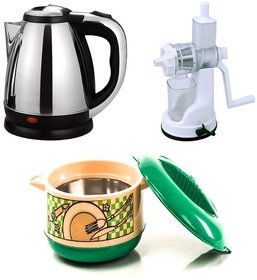 Combo Pack of 1.8 Ltr Electric Kettle and Hand juicer +1500Ml Casserole
