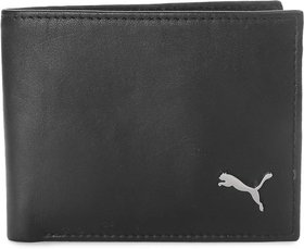 Puma Black Pure Leather Bi-fold Wallet For Men