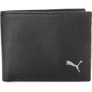 Puma Black Pure Leather Bi-fold Wallet For Men