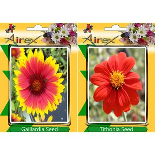 Airex Gaillardia and Tithonia   (Summer) Flower Seed (Pack Of 50  Seed * 2 Per Packet)