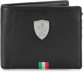 Puma Men Black Artificial Leather Wallet  (3 Card Slots)