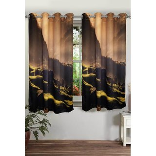 Lushomes Digitally Printed Mountain Polyster Blackout Curtains with 8 Metal Eyelets for Window Single pc. (Size: 48 x60 )