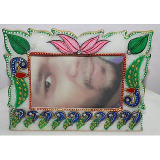 Marble PinkGreen Lotous Design Square Photo Frame