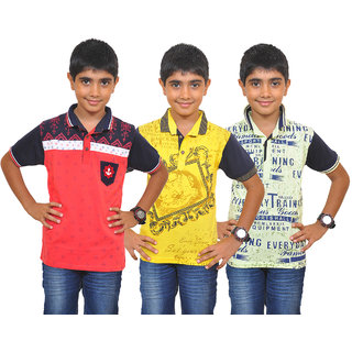095a98f2b44 Buy Pari Prince Kids Boys Multicolor Polo Designer T-shirts (Pack of 3)  Online - Get 52% Off