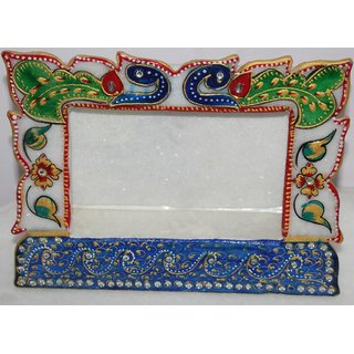 Marble Blue Peacock Design Photo Frame