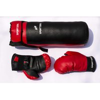 SportSoul Kids Boxing Set (Punching Bag, Gloves  Headgear), Red  Black