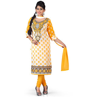 Cream and Yellow Cotton Salwar Suit Floral Designed with Embroidery work