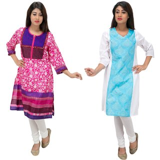 Meia combo pack of two embroidered kurtis