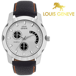 Louis Geneve Stylish  Elegant White Analog Round Wrist watch for Men  Boys-LG-MW-B-WHITE-051 (Pack of 5 )