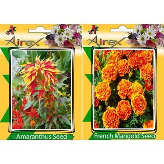Flower Seeds By Airex Amaranthus and French Marigold (Summer) Flower Seed (Pack of 50 Seed * 2 Per Packet)