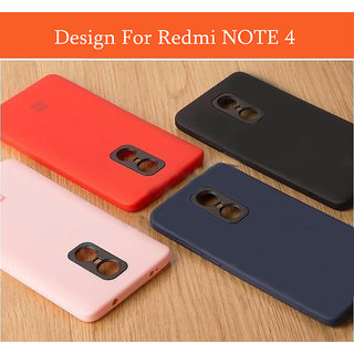 buy popular 1086c 00dee Redmi Note 4 Back Cover Ultra Thin Silicone Case With Camera Protection and  Brand Logo