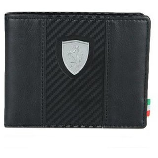 Puma Men Black Artificial Leather Wallet (4 Card Slots)