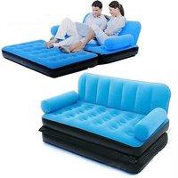 BestWay Branded Premium Velvet Inflatable 5 in 1 Sofa Bed Best Way Blue