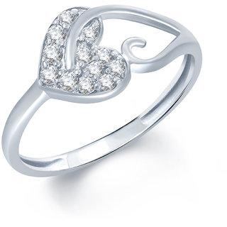 Mahalaxmi Jewels Pleasing Heart CZ Rhodium Plated Ring FRR1003
