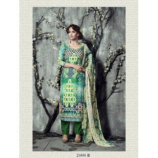 Shruti Cretion Women's Multicolor Embroidered Semi- Stitched Pashmina Dress Material