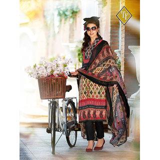Shruti Cretion Women's Multicolor Embroidered Semi- Stitched Cotton Dress Material
