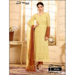 Shruti Cretion Women's Yellow Embroidered Semi- Stitched Cotton Dress Material