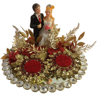 Loops n knots Red Crystal Wedding Ring Platter With 2 Ring Holders (rp106)