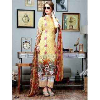 Shruti Cretion Women's Yellow Embroidered Semi- Stitched Cotton Dress Material