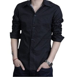 Gladiator Products Casual Dotted Shirt Slim Fit Black