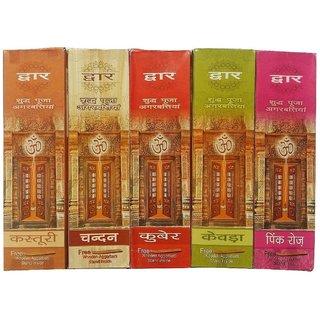 Dwar Agarbatti Combo of 5 Kuber Pink Rose Kewra Kasturi Sandal- 50 Sticks each-With Free Stand in each Pack