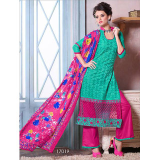 Shruti Cretion Women's Green Embroidered Semi- Stitched Cotton Dress Material