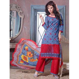 Shruti Cretion Women's Blue Embroidered Semi- Stitched Cotton Dress Material
