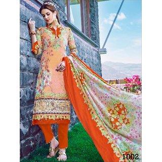 Shruti Cretion Women's Orange Embroidered Semi- Stitched Cotton Cotton Dress Material