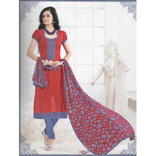 Shruti Cretion Women's Red Embroidered Semi- Stitched Cotton Dress Material