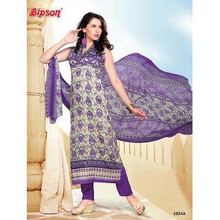 Shruti Cretion Women's White Embroidered Semi- Stitched Cotton Dress Material