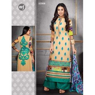 Shruti Cretion Women's Multicolor Embroidered Semi- Stitched Georgette Dress Material
