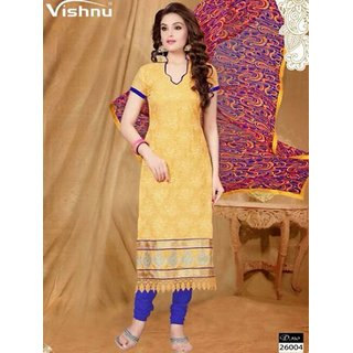 Shruti Cretion Women's Yellow Embroidered Semi- Stitched Net Dress Material