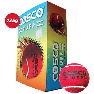 6 PCS COSCO CRICKET TENNIS BALLS, HEAVY WEIGHT CRICKET RED TENNIS BALLS TUFF