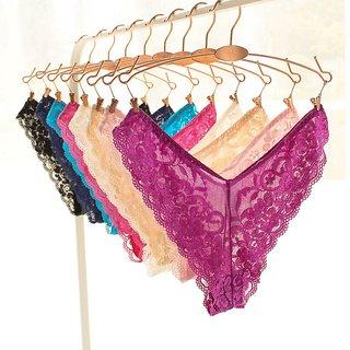 VeroniQ - Ultra Soft V-Back floral Lace Panty -2 QTY