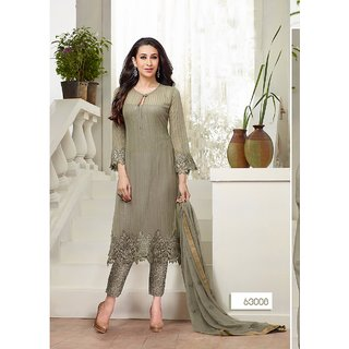 Fabliva Buy Exclusive Latest Heavy Designer Grey Straight Suits (Unstitched)