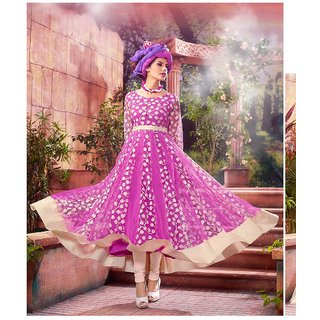 Fabliva Pink  Cream Embroidered Net Brasso Anarkali Suit