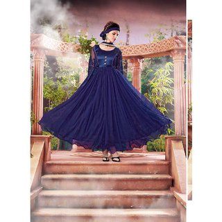 Fabliva Navy Blue Embroidered Net Brasso  Silk Anarkali Suit