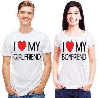 Ilyk I Love My GirlFriend And I Love My BoyFriend Couple White T-shirts Combo
