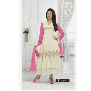 Thankar Cream And Neon Pink Embroidered Chiffon Straight Suit (Unstitched)