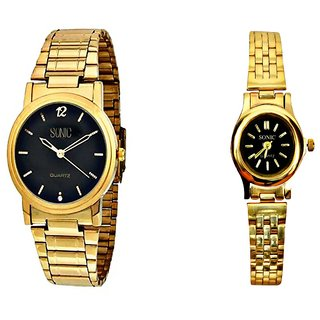 Sonic Black Dial Men And Ladies Wrist Watches