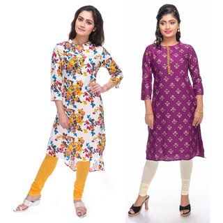 Meia combo pack of floral printed and gold printed straight cut cotton kurtis
