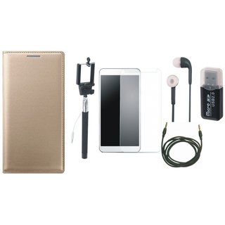 Redmi Note 3 Leather Flip Cover with Kick Stand with Memory Card Reader, Free Selfie Stick, Tempered Glass, Earphones and AUX Cable