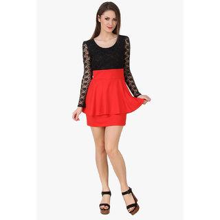 Texco Women Black & Red Self design Full sleeve Scoop neck Dress