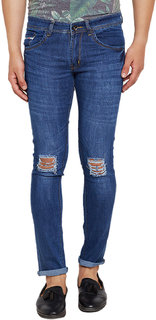 Stylox Men's Distressed Slim Fit Blue Jeans
