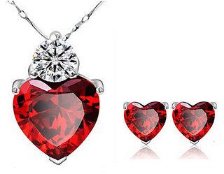 RM Jewellers 92.5 Sterling Silver American Diamond Best Heart Pendant Set For Women ( RMJPS88819 )